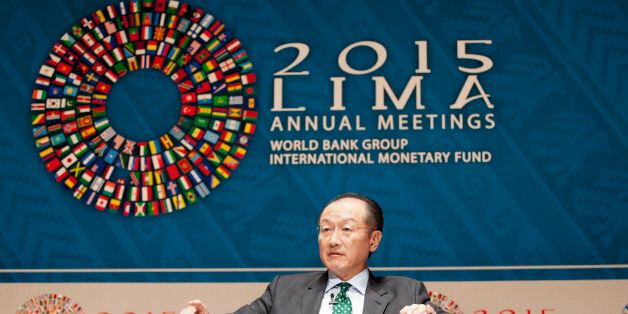 Jim Yong Kim, president of the World Bank Group, speaks at a panel discussion on climate change during...