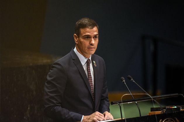 Pedro Sánchez, durante su intervención en la Asamblea