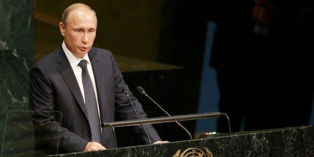 Le président russe Vladimir Poutine à la tribune de l'Onu le 28 septembre 2015 à New