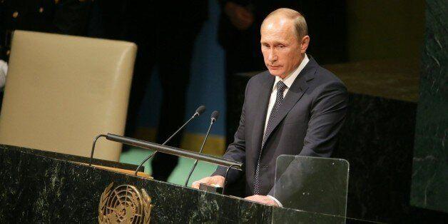 NEW YORK, USA - SEPTEMBER 28 : Russian President Vladimir Putin speaks during the opening of the 70th...