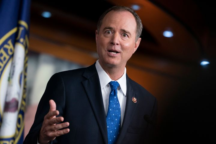 House Intelligence Committee Chairman Adam Schiff (D-Calif.) talks to reporters about the White House's summary of President