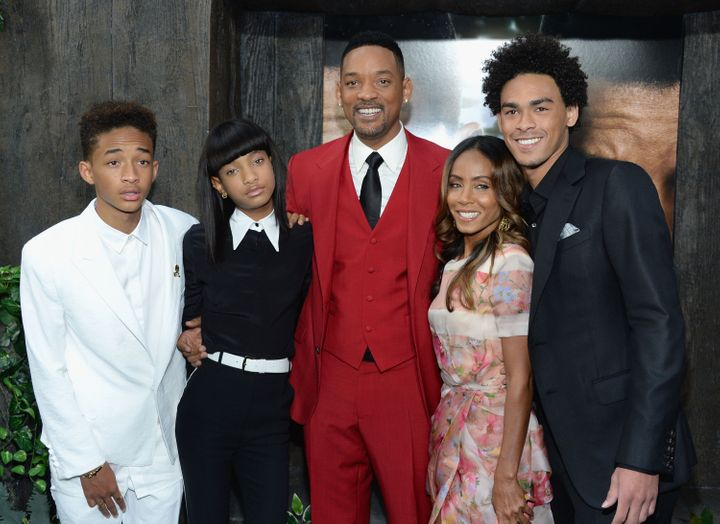 """The Smith family attends the premiere of the film """"After Earth"""" at New York's Ziegfeld Theater on May 29, 2013. Will Smith's son Jaden (left) starred with his father in the movie."""