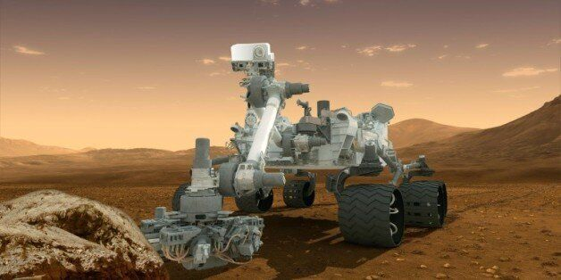 Vue d'artiste fournie par la Nasa le 1er août 2012, qui montre le robot Curiosity, chargé de découvrir...