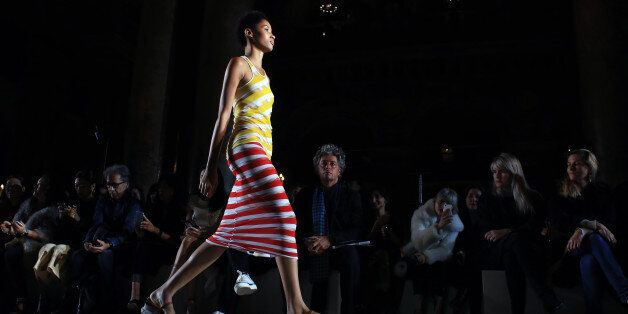 A model wears a creation as part of Stella McCartney's Spring-Summer 2016 ready-to-wear fashion collection,...
