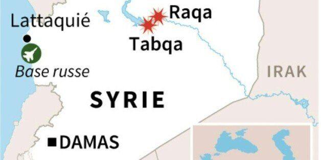 Syrie: carte de localisation des dernières frappes russes jeudi à Raqa et Taqba, en