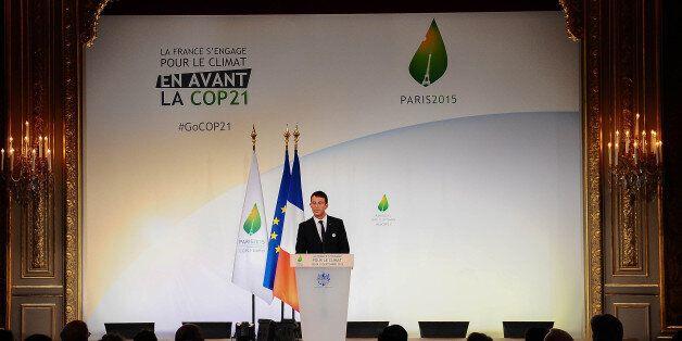 PARIS, FRANCE - SEPTEMBER 10: French Prime Minister, Manuel Valls speaks during the Conference prior...
