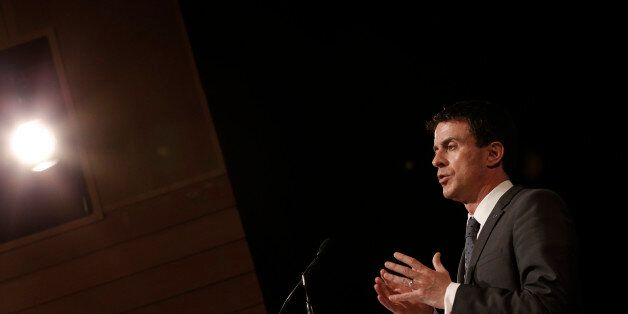 French Prime Minister Manuel Valls delivers a speech during an international conference of anti-terror...