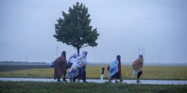 Des migrants se dirigent vers le village autrichien de Nickelsdorf le 5 septembre 2015 après être arrivés...