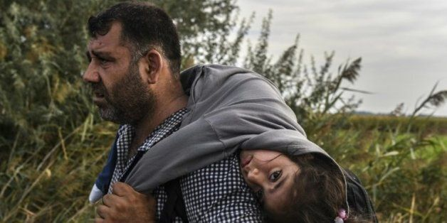 Un réfugié sa fille sur le dos le 14 septembre 2015 à Horgos en Serbie à la frontière avec la
