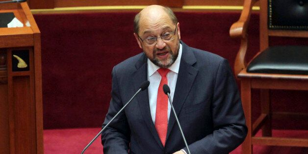 European Parliament President Martin Schulz speaks to the Albanian Parliament calling on authorities...