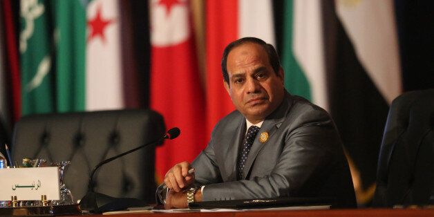 Egyptian President Abdel Fattah al-Sisi chairs an Arab foreign ministers meeting during an Arab summit...