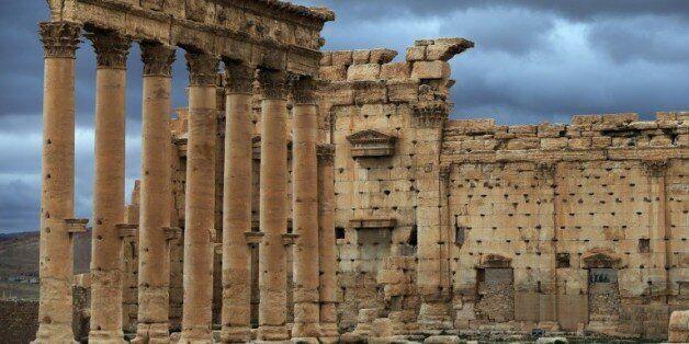 Une partie du temple de Bêl, dans la cité antique de Palmyre, le 14 mars