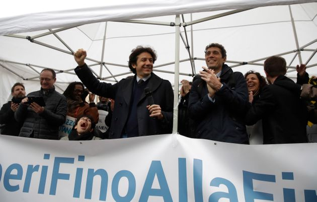 Radical Party member and pro-euthanasia activist Marco Cappato, center left, and Italian Radical party...