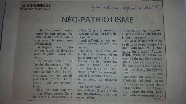 Le néo-patriotisme, un texte trés actuel de feu M'Hammed