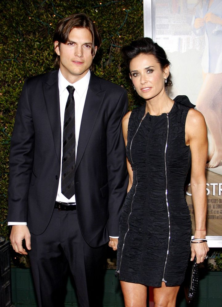 """Kutcher and Demi Moore at the Los Angeles premiere of """"No Strings Attached"""" in 2011."""