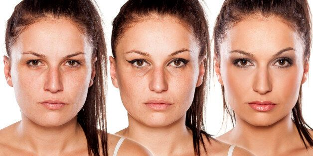 woman without , with wrong makeup and with right