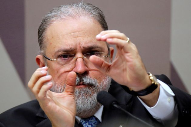 Prosecutor-general nominee Augusto Aras gestures during a session of the Committee on Constitution and...