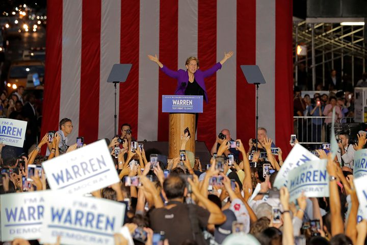 Warren speaks to thousands of rallygoers in Manhattan on Sept. 16. Her ascent in the polls appears to have prompted more aggr