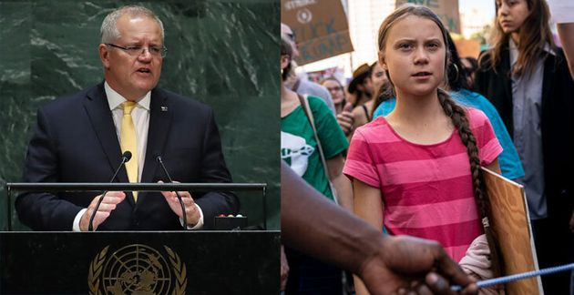 Australian Prime Minister Scott Morrison at the United Nations and 16-year-old Swedish climate activist...