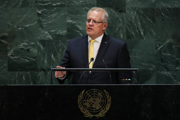 Scott Morrison, the Prime Minister of Australia, speaks at the 74th United Nations General Assembly on...