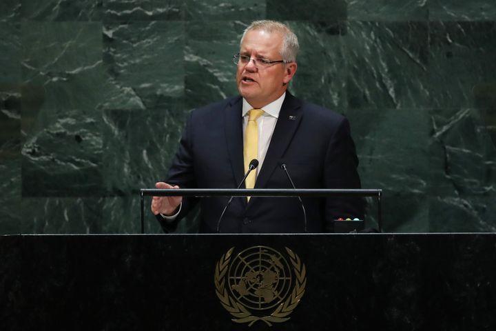 Scott Morrison, the Prime Minister of Australia, speaks at the 74th United Nations General Assembly on September 25, 2019 in New York City.