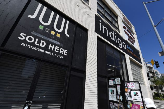 A sign advertises Juul vaping products in Los Angeles, California, on Sept. 17,