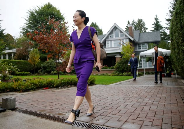 Huawei Technologies Chief Financial Officer Meng Wanzhou leaves her home to appear for a hearing at British...