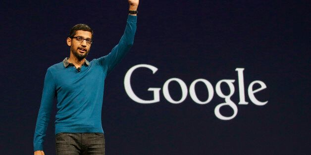 Sundar Pichai, senior vice president of Android, Chrome and Apps, waves after speaking during the Google...