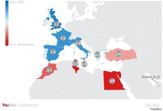 Selon YouGov, la Tunisie et l'Egypte font parti des destinations de vacances les plus