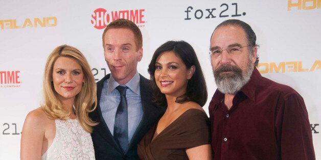 Cast members, from left, Claire Danes, Damian Lewis, Morena Baccarin, and Mandy Patinkin arrive at the...