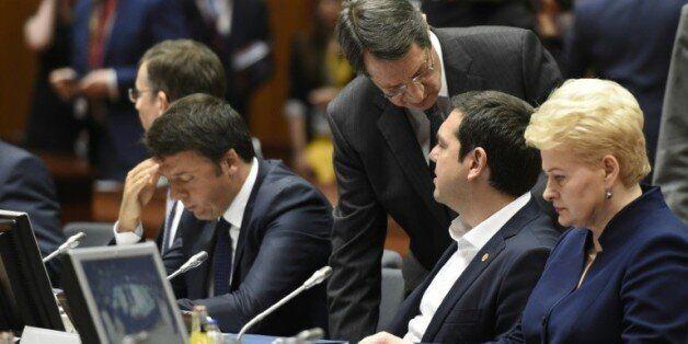 Le Premier ministre italien Matteo Renzi, le président chypriote Nicos Anastasiades, le Premier ministre...
