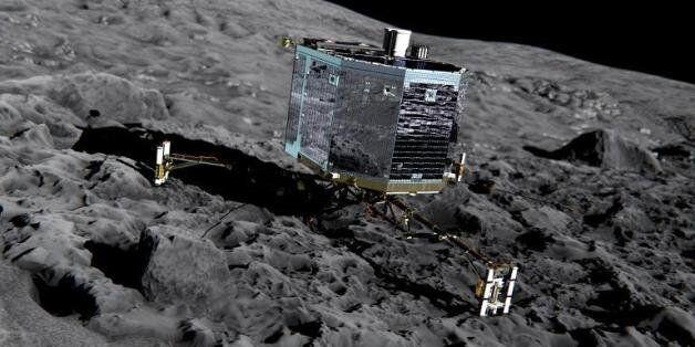 Vue d'artiste fournie le 20 décembre 2013 par l'ESA montrant le robot Philae sur la comète 67P/Churyumov-Gerasimenko