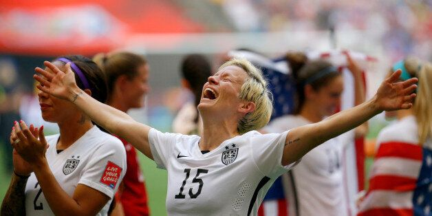 VANCOUVER, BC - JULY 05: Megan Rapinoe #15 of the United States celebrates the 5-2 victory against Japan...