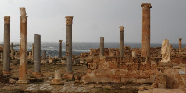 A picture shows the ancient Roman city of Sabratha, 90 kms west of the Libyan capital Tripoli, September...