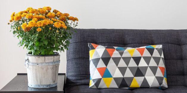 bright cushion on a sofa