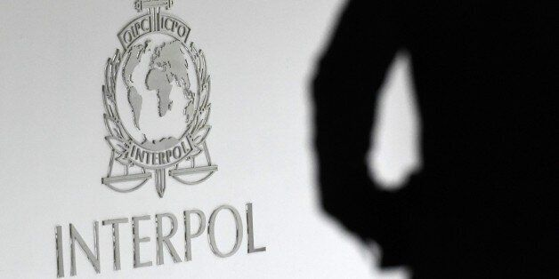 A logo at the newly completed Interpol Global Complex for Innovation building is seen during the inauguration...
