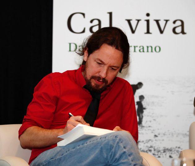 El líder de Podemos, Pablo Iglesias, durante la presentación del libro