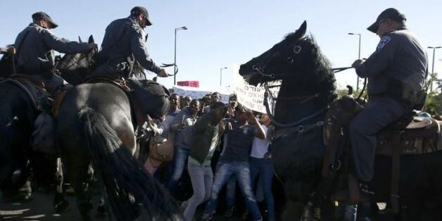 Affrontements dans le centre de Jérusalem entre policiers et Israéliens d'origine éthiopienne, le 30...