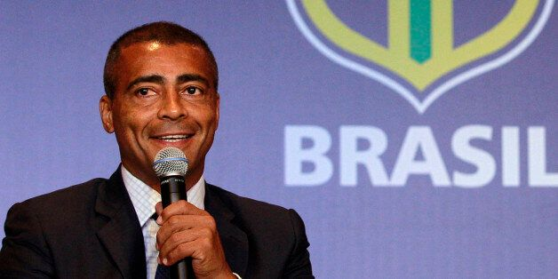 FILE - In this Dec. 23, 2011 file photo, former soccer star Romario speaks at a news conference in Rio...