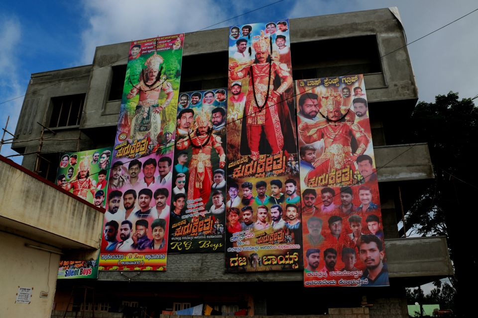 Banners put up by various Darshan Fans Associations for the release of his film