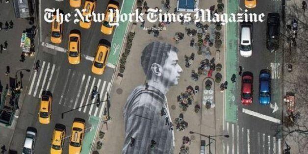Cet artiste a collé une photographie gigantesque sur le sol à New