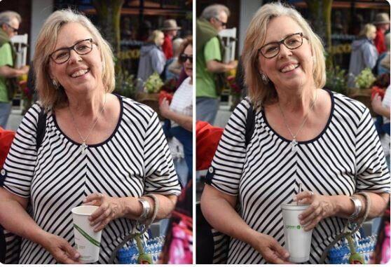 Elizabeth May prima e dopo la modifica della
