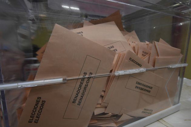 EL VENDRELL, SPAIN - 2019/04/28: A Ballot box seen with voting envelopes at a polling station during...