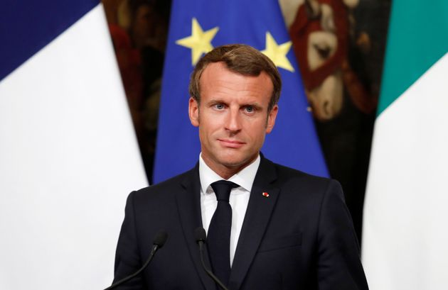 French President Emmanuel Macron addresses the media ahead of a working dinner with Italian Prime Minister...
