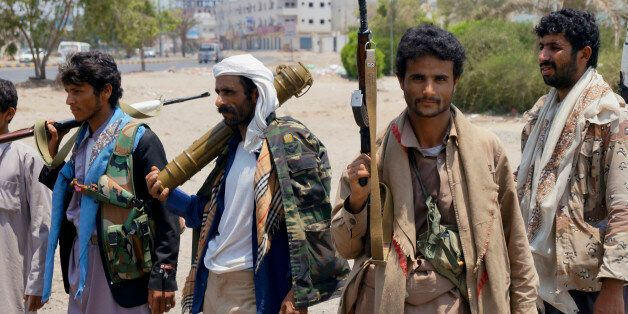 Shiite fighters known as Houthi gather at a street in Aden, Yemen, Thursday, April 2, 2016. Yemen's Shiite...