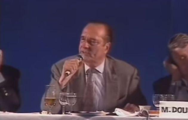 Jacques Chirac lors d'un dîner débat du RPR à Orléans le 19 juin