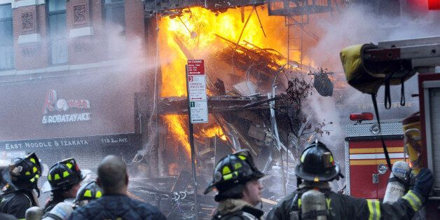 Building at 121 Second Avenue in East Village, near Seventh Street collapsed after it was rocked by a...