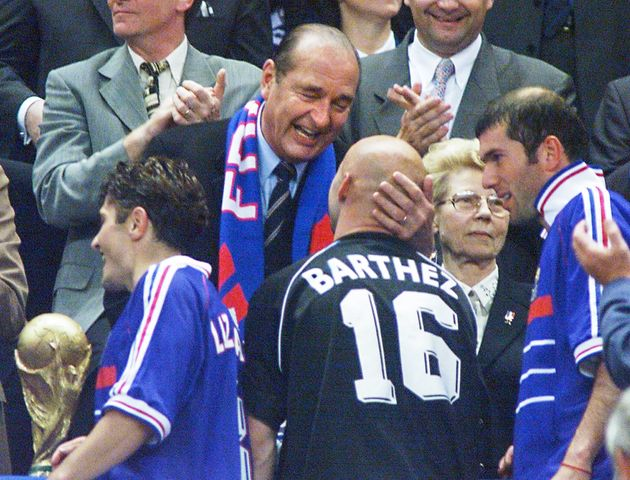 Jacques Chirac remerciant Fabien Barthez après la victoire contre le