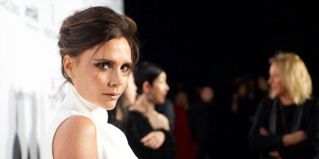 Victoria Beckham arrives at the inaugural amfAR Hong Kong gala on Saturday, March 14, 2015 in Hong Kong....