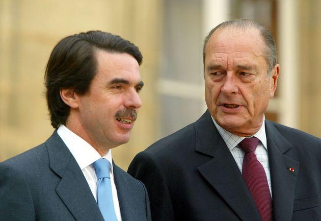 José María Aznar y Jacques Chirac, en